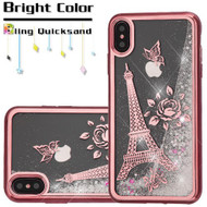Electroplating Quicksand Glitter Transparent Case for iPhone XS Max - Eiffel Tower Rose Gold 036