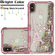 Tuff Lite Quicksand Electroplating Case for iPhone XS Max - Eiffel Tower Rose Gold