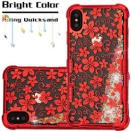 Tuff Lite Quicksand Electroplating Case for iPhone XS Max - Hibiscus Flower Red