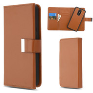 2-IN-1 Premium Tri-Fold Leather Wallet with Removable Magnetic Case for LG Stylo 4 - Brown