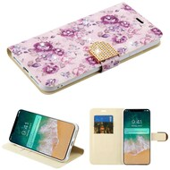 Luxury Bling Portfolio Leather Wallet Case for iPhone XS Max - Fresh Purple Flowers