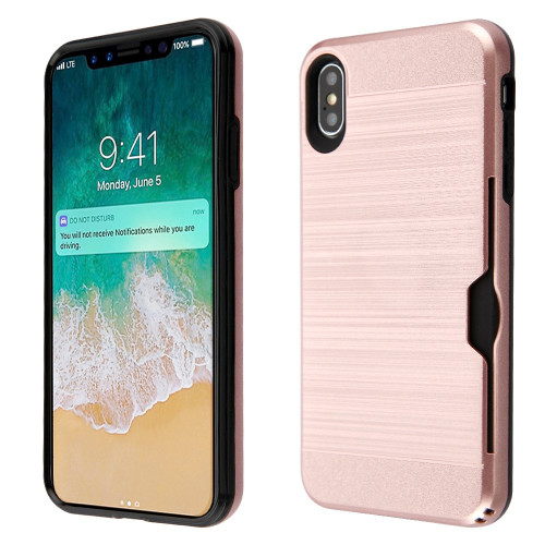 Id Card Slot Hybrid Case For Iphone Xs Max Rose Gold Hd Accessory