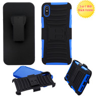 Advanced Armor Hybrid Kickstand Case with Holster and Tempered Glass Screen Protector for iPhone XS Max - Blue