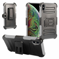Advanced Armor Hybrid Kickstand Case with Holster and Tempered Glass Screen Protector for iPhone XS Max - Grey