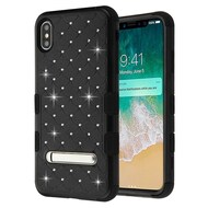 Military Grade Certified TUFF Diamond Hybrid Armor Case with Stand for iPhone XS Max - Black