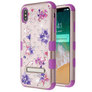 Military Grade Certified TUFF Diamond Hybrid Armor Case with Stand for iPhone XS Max - Purple Stargazers
