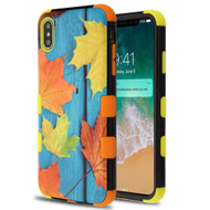 Military Grade Certified TUFF Hybrid Armor Case for iPhone XS Max - Scattered Leaves