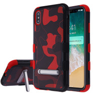 Military Grade Certified TUFF Hybrid Armor Case with Stand for iPhone XS Max - Camouflage Red