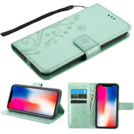Embossed Butterfly Flower Leather-Style Wallet Stand Case for iPhone XR - Teal Green
