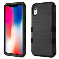 Military Grade Certified Brushed TUFF Hybrid Case for iPhone XR - Black