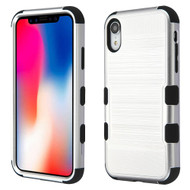 Military Grade Certified Brushed TUFF Hybrid Case for iPhone XR - Silver