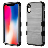 Military Grade Certified Brushed TUFF Hybrid Case for iPhone XR - Grey