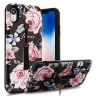 Finger Loop Case with Kickstand for iPhone XR - Dark Roses