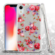 Full Glitter Diamond Hybrid Protective Case for iPhone XR - Vintage Rose Bush