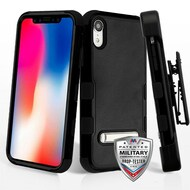 Military Grade Certified TUFF Hybrid Armor Kickstand Case with Holster for iPhone XR - Black