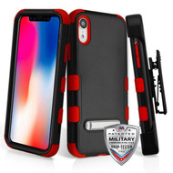 Military Grade Certified TUFF Hybrid Armor Kickstand Case with Holster for iPhone XR - Black Red