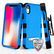 Military Grade Certified TUFF Hybrid Armor Kickstand Case with Holster for iPhone XR - Blue