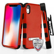 Military Grade Certified TUFF Hybrid Armor Kickstand Case with Holster for iPhone XR - Red
