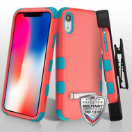 Military Grade Certified TUFF Hybrid Armor Kickstand Case with Holster for iPhone XR - Pink Teal