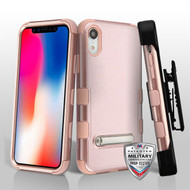 Military Grade Certified TUFF Hybrid Armor Kickstand Case with Holster for iPhone XR - Rose Gold