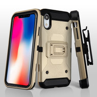 3-IN-1 Kinetic Hybrid Armor Case with Holster and Tempered Glass Screen Protector for iPhone XR - Gold