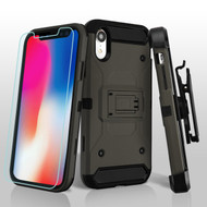 3-IN-1 Kinetic Hybrid Armor Case with Holster and Tempered Glass Screen Protector for iPhone XR - Grey
