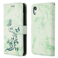 Marble Essential Leather Wallet Stand Case for iPhone XR - 3D Butterfly Flower Mint Green