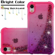 Confetti Quicksand Glitter Electroplating Transparent Case for iPhone XR - Hot Pink Purple
