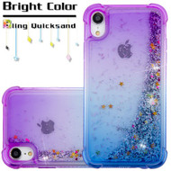 Confetti Quicksand Glitter Electroplating Transparent Case for iPhone XR - Purple Blue
