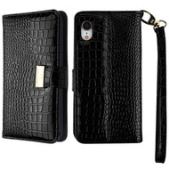 Crocodile Embossed Leather Wallet Case for iPhone XR - Black