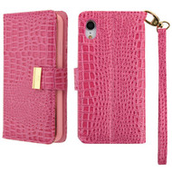 Crocodile Embossed Leather Wallet Case for iPhone XR - Hot Pink