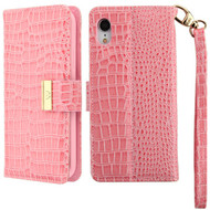 Crocodile Embossed Leather Wallet Case for iPhone XR - Pink