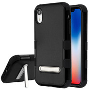 Military Grade Certified TUFF Hybrid Armor Case with Stand for iPhone XR - Black