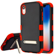 Military Grade Certified TUFF Hybrid Armor Case with Stand for iPhone XR - Black Red