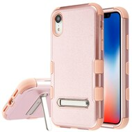 Military Grade Certified TUFF Hybrid Armor Case with Stand for iPhone XR - Rose Gold