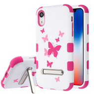 Military Grade Certified TUFF Hybrid Armor Case with Stand for iPhone XR - Butterfly Dancing