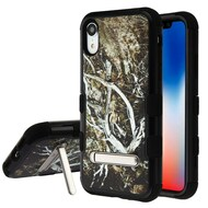 Military Grade Certified TUFF Hybrid Armor Case with Stand for iPhone XR - Tree Camouflage