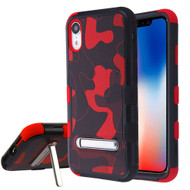 Military Grade Certified TUFF Hybrid Armor Case with Stand for iPhone XR - Camouflage Red