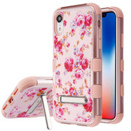 Military Grade Certified TUFF Hybrid Armor Case with Stand for iPhone XR - Vintage Rose Bush Rose Gold