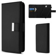 2-IN-1 Premium Tri-Fold Leather Wallet with Removable Magnetic Case for iPhone XR - Black