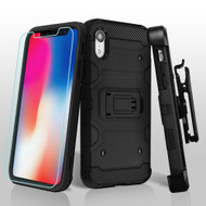 Military Grade Certified Storm Tank Hybrid Case with Holster and Tempered Glass Screen Protector for iPhone XR - Black