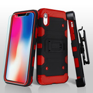 Military Grade Certified Storm Tank Hybrid Case with Holster and Tempered Glass Screen Protector for iPhone XR - Black Red
