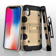 Military Grade Certified Storm Tank Hybrid Case with Holster and Tempered Glass Screen Protector for iPhone XR - Gold