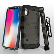 Military Grade Certified Storm Tank Hybrid Case with Holster and Tempered Glass Screen Protector for iPhone XR - Grey