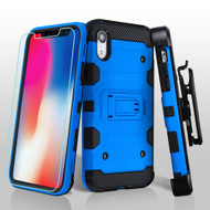 Military Grade Certified Storm Tank Hybrid Case with Holster and Tempered Glass Screen Protector for iPhone XR - Blue
