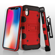 Military Grade Certified Storm Tank Hybrid Case with Holster and Tempered Glass Screen Protector for iPhone XR - Red