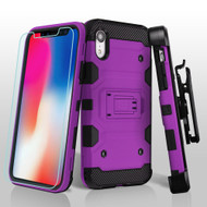Military Grade Certified Storm Tank Hybrid Case with Holster and Tempered Glass Screen Protector for iPhone XR - Purple