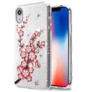 Tuff Full Glitter Diamond Hybrid Protective Case for iPhone XR - Spring Flowers