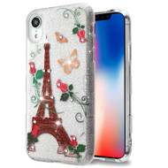 Tuff Full Glitter Diamond Hybrid Protective Case for iPhone XR - Paris Monarch Butterflies