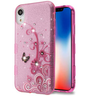 Tuff Full Glitter Diamond Hybrid Protective Case for iPhone XR - Butterfly Flowers
